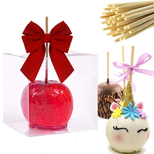 """Candy Apple Boxes with Sticks Set of 20 Clear Candy Apple Boxes Size 4""""x4""""X4"""" Transparent Gift Box with Hole Caramel Candy Apples with Bonus 20 Sticks"""