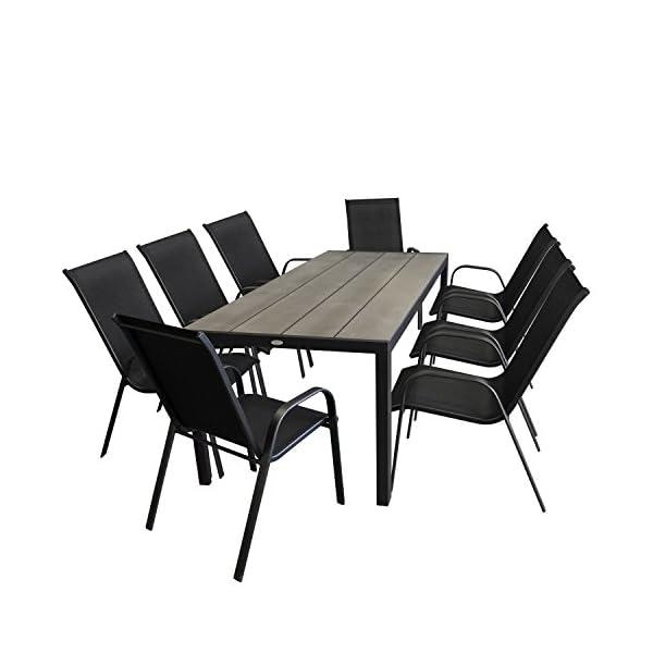 Multistore 2002 9tlg. Gartenmöbel Gartentisch, Aluminium, Tischplatte Polywood, Smoked-Grey/Schwarz, 205x90cm + 8X…