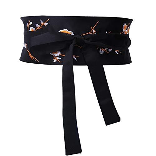 QPODGQ Gürtel Schwarze Gestickte Blume Breite Gürtel Für Damen Doppelknoten Krawatte Bund Zubehör Zubehör Gürtel Bogen Design