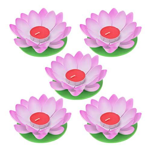 OSALADI Schwimmkerzen Lotus Kerzen Wasserlaterne Künstliche Lotusblüte Seerose Schwimmlaterne Laterne mit Kerze für Pool Teich Garten Hochzeit Party Dekoration Lila 5 Stück