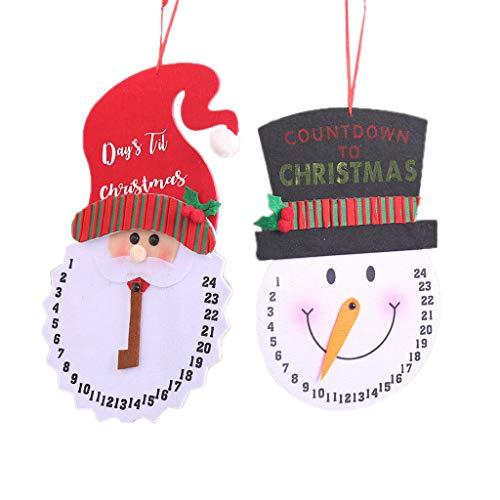 JOYKK Hängende Schneemann-Weihnachtsmann-Adventskalender für die Feiertage Hölzerne Wand- und Türdekorationstage im Innen- und Außenbereich