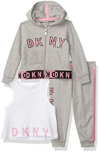 DKNY Girls' Baby and Toddler Layette Set, New Art Heather Grey, 18M