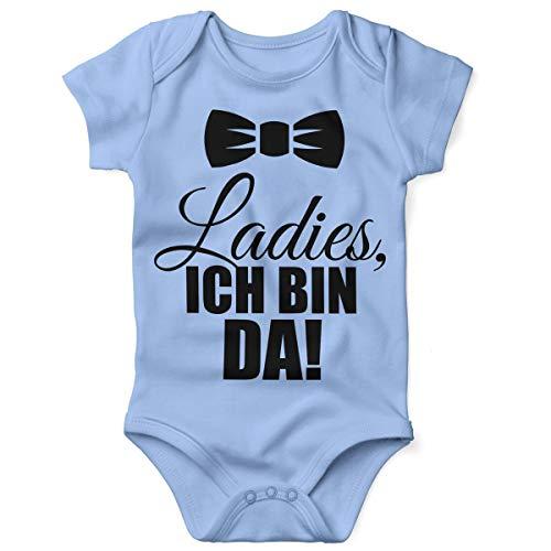 Mikalino Babybody mit Spruch für Jungen Mädchen Unisex Kurzarm Ladies, ich Bin da!   handbedruckt in Deutschland   Handmade with Love, Farbe:Sky, Grösse:74