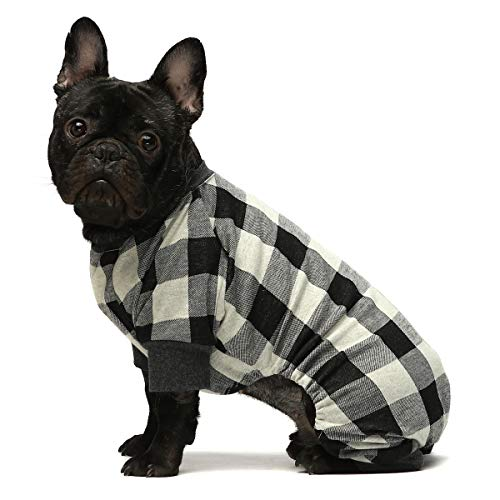 Fitwarm 100% Cotton Buffalo Plaid Dog Clothes Puppy Pajamas Pet Apparel Cat Onesies Jammies Doggie Jumpsuits Grey Large