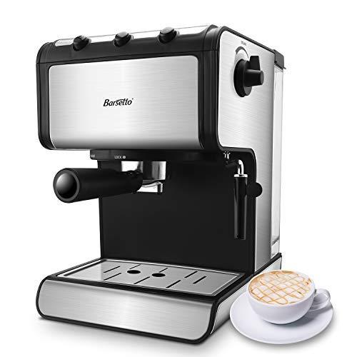 Espressomaschine Kaffeemaschine Barsetto 15 Bar Edelstahl Siebträgermaschine mit unabhängiger Milchaufschäumer für Cappuccino, Latte und Mokka,850w