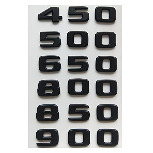 HUATAO HUAYU Mattschwarze Zahl Embleme B20 B25 B35 450 500 550 580 600 650 700 800 850 880 900 950 Brief Emblem für Brabus (Style : 8 0 0)