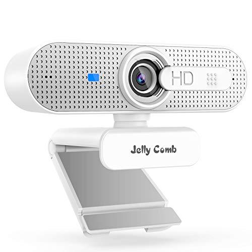 Jelly Comb 1080P HD Webcam mit Objektivdeckel, Streaming Webkamera mit Autofokus/Stereo Mikrofon für Computer, Skype, Video Chat und Aufnahme, Weiß und Silber