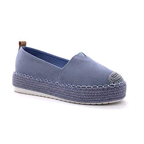 Angkorly - Mode schoenen Pumps Mocassini Van het strand Vrouw Suède Met stro Gevlochten Type de talon NL sleehak 5.5 CM