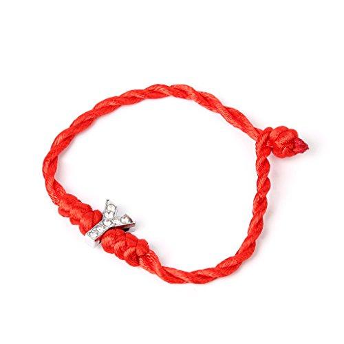 Haia7k4k Pulsera tobillera, cordón de la suerte, letras de cristal de cuerda rojas para amante