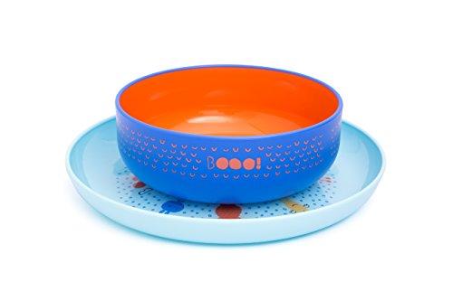 Azul Bamb/ú y silicona grado alimentario Ecol/ógico sin BPA Con ventosa antideslizante en la base set 3 piezas: Bowl Plato y Cuchara BUABI Vajilla de Bamb/ú natural