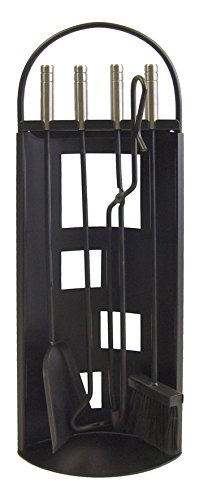 Imex El Zorro 10016 Serviteur de cheminée avec arceau en tôle + accessoires poignées inox 68 x 23 x 14 cm Noir