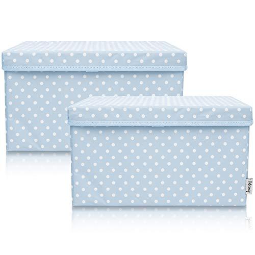 Lifeney 2-Set Aufbewahrungsbox Kinder (37x25x21cm) I Aufbewahrungskorb für Kinderzimmer und Wohnbereich I Kinder Aufbewahrungskiste (Hellblau Punkte)