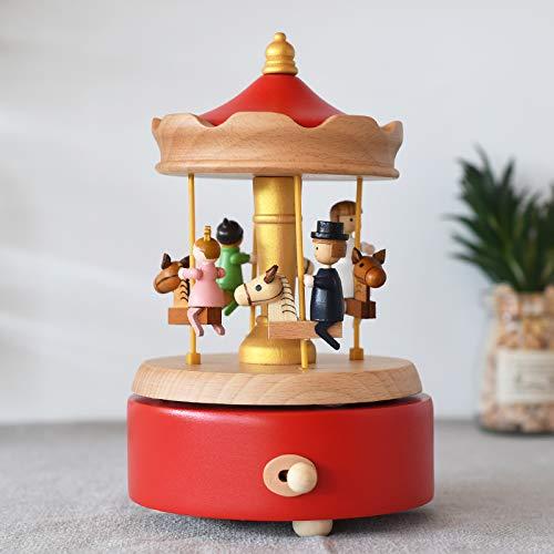 RecontraMago Caja de Música - Diseños con Movimiento Madera - para niños y niñas Mujer Bailarina navideñas Vintage (TIOVIVO)
