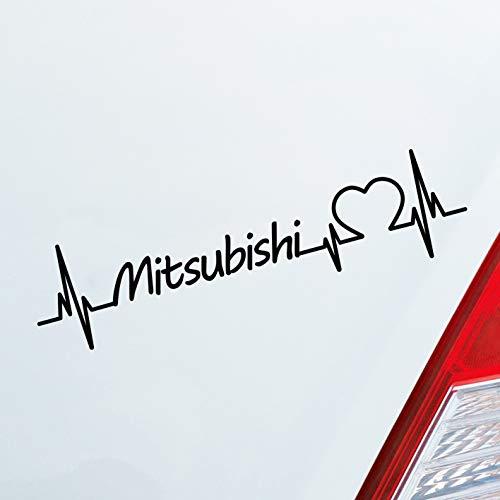 Hellweg Druckerei Auto Aufkleber Zubehör passend für Mitsubishi Fans Herz Puls Car Liebe Love Sticker Heckscheibenaufkleber