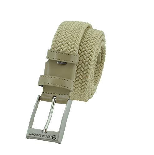 Sergio Tacchini Cintura Elastica Intrecciata, Uomo Donna, Con Inserti in Vera Pelle, Scatola Regalo Beige 125
