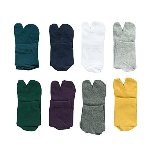 Wookki Lot De 8 Paires Chaussette Tabi Sabot Tong Ninja Style Japonaise Homme Jeune Garçons En Coton Doux Respirante Socquette A 2 Orteils Doigts Sépa