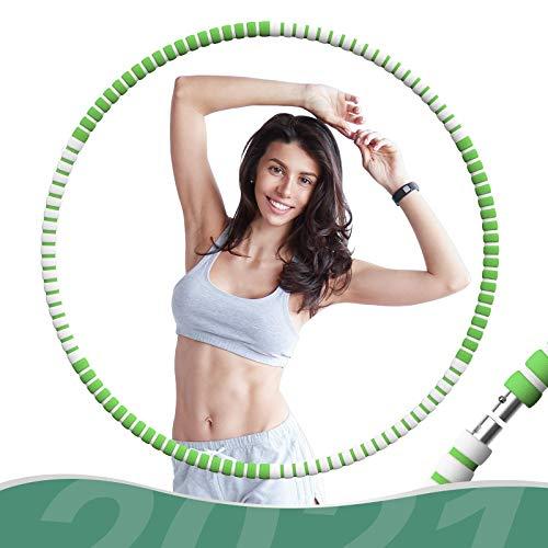 FISHOAKY Hula Hoop Reifen Erwachsene, Edelstahl Hoola Hoop Fitness zur Gewichtsreduktion und Massage, 6 Abnehmbare Einstellbares Gewicht Hullahub Fitnesskreis für Gewicht, Premium Schaumstoff