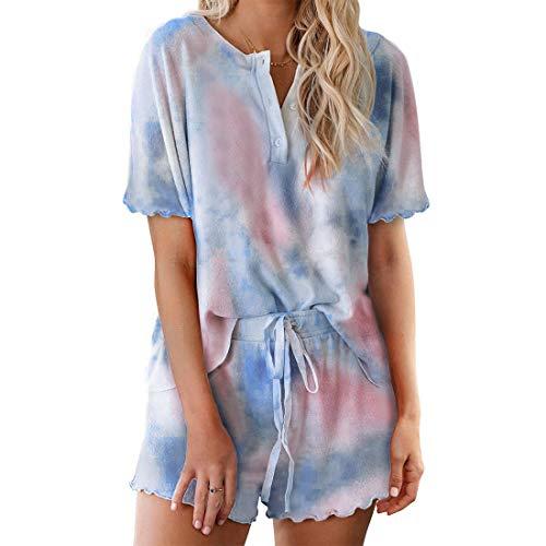 MoneRffi Womens Pyjama Sets 2 Pieces Sleepwear Tie Dye Short Sleeve V neck Tops and Shorts for Spring Summer Drawstring Jogger Tracksuit SetB3XXL