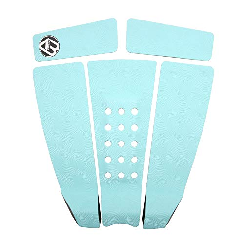 AQUBONA 5 Piece EVA Surfboard Deck Traction Pads with Kicker for Stomp Skimboards, Surf Boards, Funboard, Fish Board/Aqua Blue Gray Black