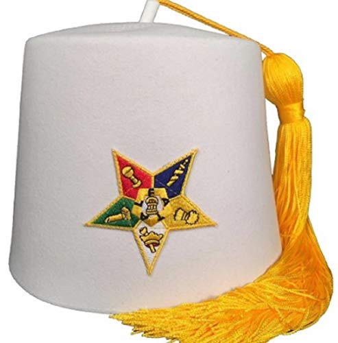 Order of The Eastern Star OES White Fez (with Yellow Tassel, 6 3/4 (21 1/8''-21 3/8''))