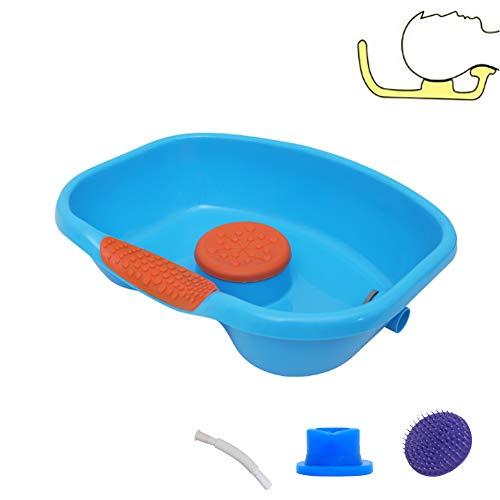 WGXY Haarwaschbecken, Shampoo-Becken für das Pflegebett, Shampoo-Tablett für Behinderte, ältere Menschen, Patienten, Massage mit dicken Wellenpunkten (blau)