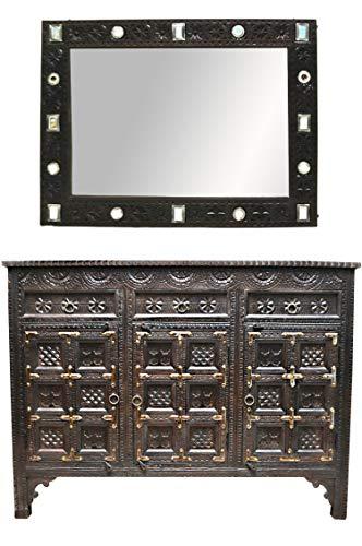 Oosterse commode dressoir Hawa inclusief spiegel donkerbruin | Orient vintage commodekast oosters met de hand versierd | Indiase landhuis dressoir van hout | Aziatische meubels uit India