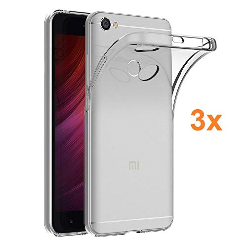 3X Funda Carcasa Gel Transparente para XIAOMI REDMI Note 5A Prime, Ultra Fina 0,33mm, Silicona TPU de Alta Resistencia y Flexibilidad