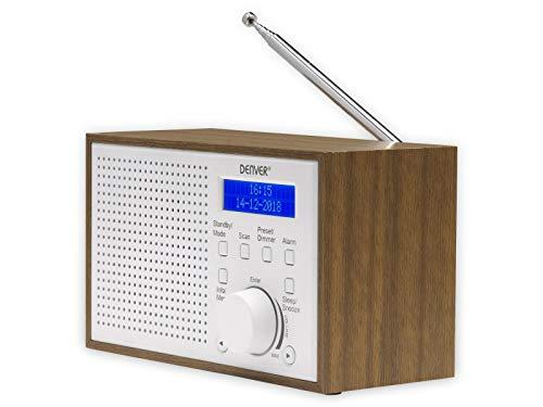 Digitale radio DAB + en FM DENVER DAB-46 witte klok en wekker. Werkt met accu en stroom. Audio-uitgang 2 W. Houten afwerking