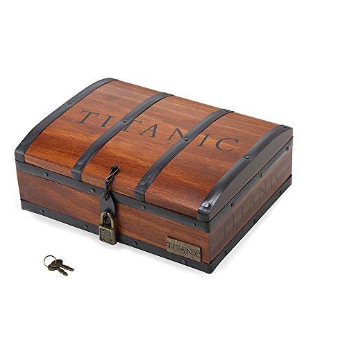 Collana Cuore dell'oceano, con ciondolo, Titanic, in scatola di legno, in confezione regalo