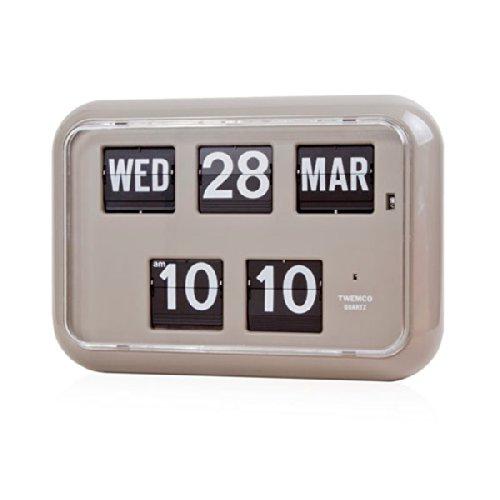 Homeloo x Twemco QD 35 Calendario y reloj de cuarzo alemán para la pared, estilo retro