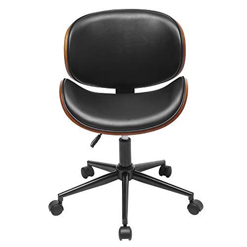 KUBEE Mid-Century Office Desk Chair Adjustable Black Leather Chrome Base Bent Plywood