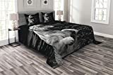 Ambesonne Safari Bedspread, A White Tiger in a Wintertime Rare Portrait of an Animal with Eyes Wildlife Environment, Decorative Quilted 3 Piece Coverlet Set with 2 Pillow Shams, Queen Size, Pale Grey