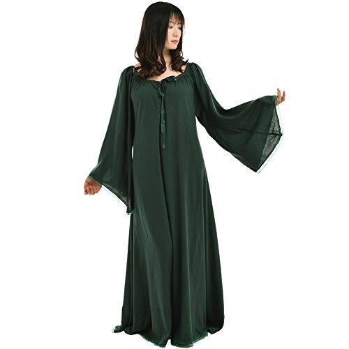 BLESSUME Damen Mittelalterlich Renaissance Kleid Kleid (Grün, XL)