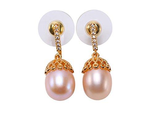 jyx Sterling Silber 9,5× 14mm Pink Oval Süßwasserperle Ohrringe in Silber