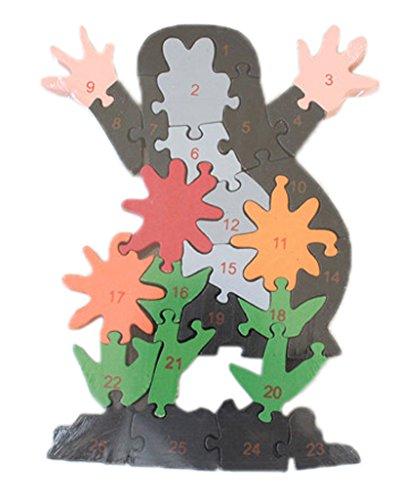 Bigood Jouet Bébé Enfant Puzzle en Bois Alphabet Chiffre Préscolaire Mickey Fleur