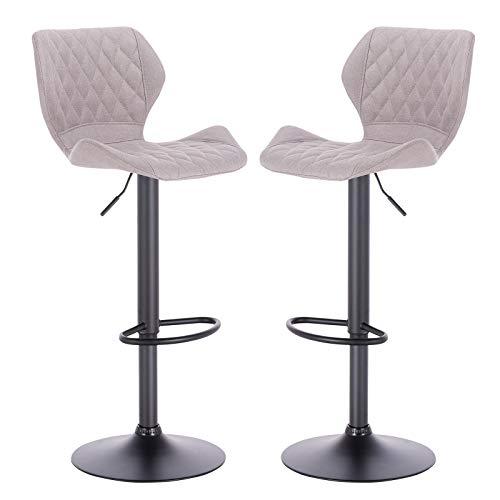 eSituro SBST0370-2 2 x Barhocker Küchenstuhl Barstuhl, höhenverstellbar & 360° drehbar, 2er Set Bar Hocker aus hochwertigem Leinen, Hellgrau - 7