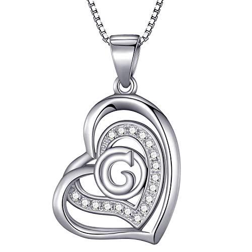 Morella® Damen Halskette Herz Buchstabe G 925 Silber rhodiniert mit Zirkoniasteinen weiß 46 cm