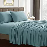 Sweet Home Collection Jersey Knit Microfiber Bed Sheet Set - Premium Soft & Breathable Stretch Deep Pocket Knitted Jersey Sheet Set - King, Misty Blue