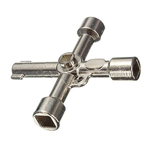 OUTLETISSIMO® Llave universal con contador de herramientas, 4 huellas, caja de agua, gas, luz
