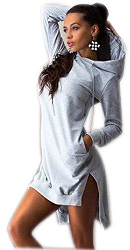 Pullover Damen Lange Hoodie Hoodies Für Damen Kleid Modische Pullover Kleid Damen Sweatshirt Pullis Sweatshirts Jacken Coole Oversize Rollkragenpullover Hellgrau L