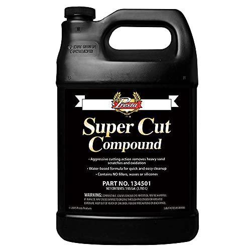 Presta SuperCut Compound-RemovesHeavySandScratchesand Oxidationfor Vehicles /Ultra-Aggressive Cutting ActionforAutomotive and Marine Applications/Silicon-Free/ 1 Gallon (134501)