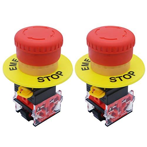 mxuteuk Lot de 2 boutons poussoirs d'arrêt d'urgence 2 NO 22 mm AC 660 V 10 A