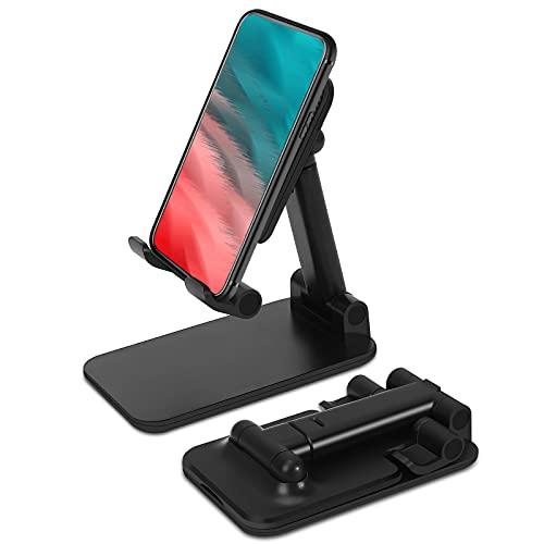 mylovetime Handy Halterung, Faltbarer Handy Ständer verstellbare Tablet Halterung Handyhalter Multi-Winkel Tisch Halter für Smartphones Schwarz