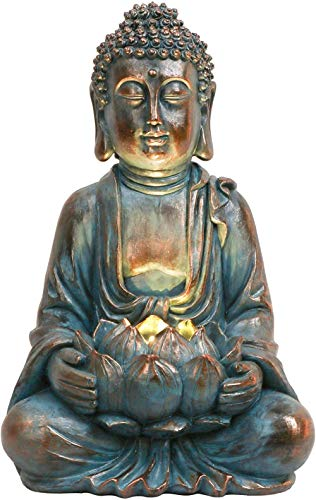 XCZZYC Garden Buddha Statue with Solar Lights Meditating Buddha Serene Decorative Sitting Sculpture with Lotus for Table Desk Outdoor Patio Yard and Zen Decorations (12.6 Inch)