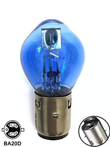 1x Stück BLUE VISION Glühbirne 35/35W 12V BA20d - 2 Faden System - bilux Lampe Leuchtmittel Roller Motorrad Moped - Hallenwerk