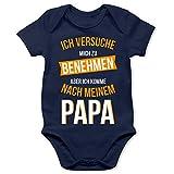 Shirtracer Sprüche Baby - Ich versuche Mich zu benehmen Papa orange - 3/6 Monate - Navy Blau - Strampler für Papa - BZ10 - Baby Body Kurzarm für Jungen und Mädchen