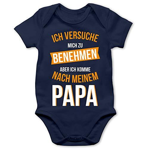 Shirtracer Sprüche Baby - Ich versuche Mich zu benehmen Papa orange - 3/6 Monate - Navy Blau - Baby Tante - BZ10 - Baby Body Kurzarm für Jungen und Mädchen