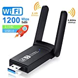 NEKAN Clé WiFi, Adaptateur WiFi USB 3.0 AC 1200Mbps Dongle,802.11 avec Dual Band 5Ghz / 2.4Ghz, 5dBi High Gain Antenna for Desktop, Auto Installation, Compatible avec Windows XP/7/8/8.1/10.