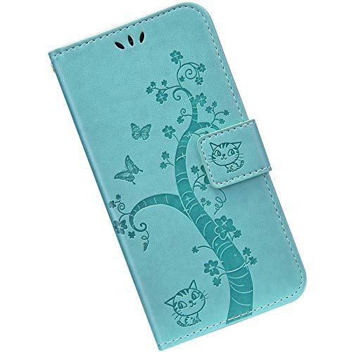 Kompatibel mit Samsung Galaxy S8 Hülle Leder Handytasche, Hülle mit Handykette Handyhülle Schmetterlings Prägemuster Muster Schutzhülle Brieftasche mit Magnet Kartenfächer Klapphülle,Grün