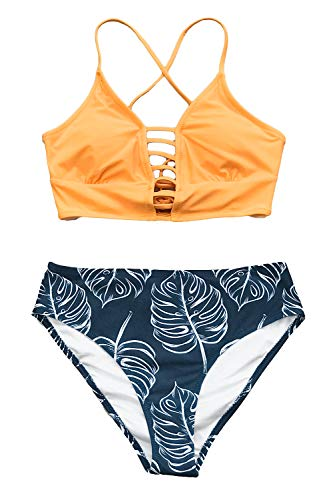 CUPSHE Women's Yellow and Leaves Print Lace Bikini Set (X-Small (USA 0/2), Orange Dark Blue)
